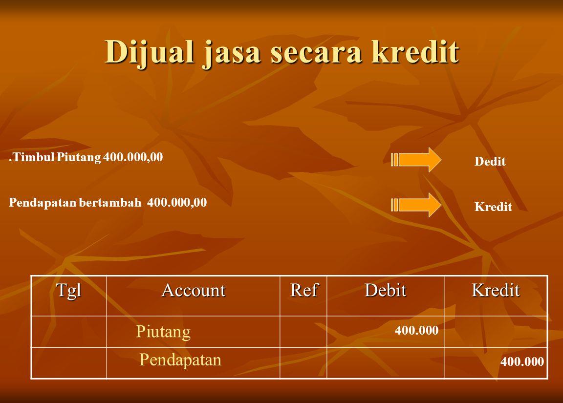 Dijual jasa secara kredit.Timbul Piutang 400.000,00 Dedit Pendapatan bertambah 400.000,00 Kredit TglAccountRefDebitKredit Piutang 400.000 Pendapatan 4