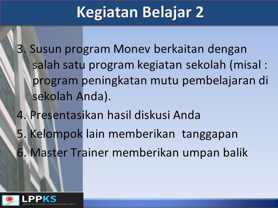 Kegiatan Belajar 2 3. Susun program Monev berkaitan dengan salah satu program kegiatan sekolah (misal : program peningkatan mutu pembelajaran di sekol