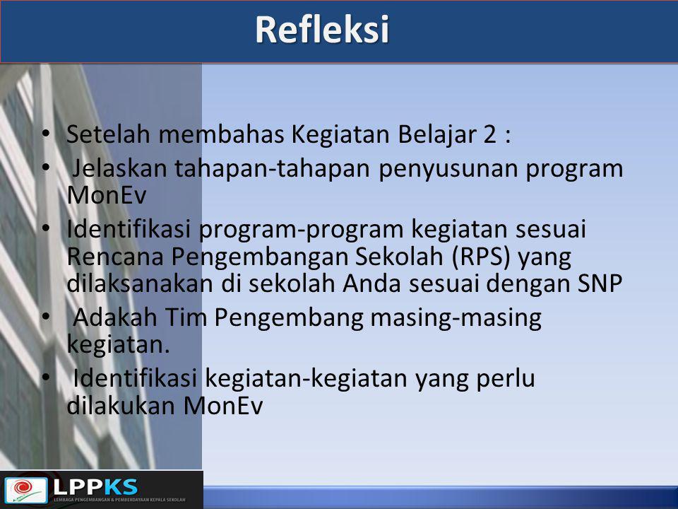 Refleksi • Setelah membahas Kegiatan Belajar 2 : • Jelaskan tahapan-tahapan penyusunan program MonEv • Identifikasi program-program kegiatan sesuai Re