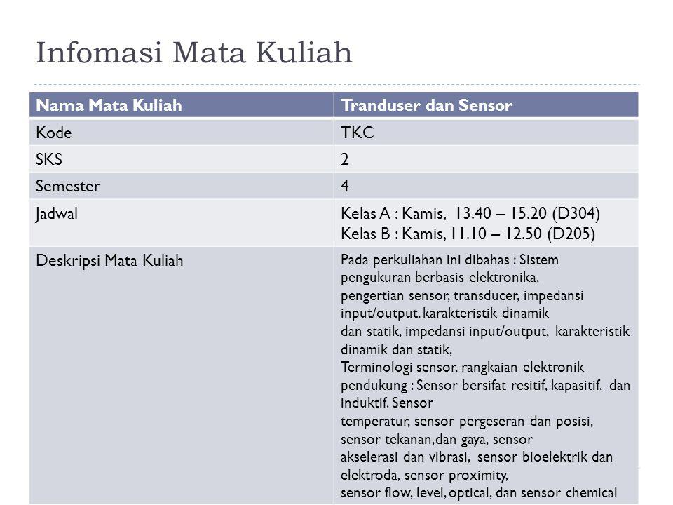 Infomasi Mata Kuliah kteguhm.siskom@gmail.com Nama Mata KuliahTranduser dan Sensor KodeTKC SKS2 Semester4 JadwalKelas A : Kamis, 13.40 – 15.20 (D304) Kelas B : Kamis, 11.10 – 12.50 (D205) Deskripsi Mata Kuliah Pada perkuliahan ini dibahas : Sistem pengukuran berbasis elektronika, pengertian sensor, transducer, impedansi input/output, karakteristik dinamik dan statik, impedansi input/output, karakteristik dinamik dan statik, Terminologi sensor, rangkaian elektronik pendukung : Sensor bersifat resitif, kapasitif, dan induktif.