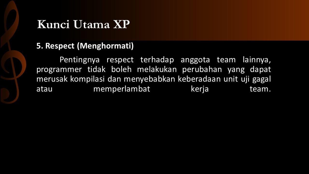5. Respect (Menghormati) Pentingnya respect terhadap anggota team lainnya, programmer tidak boleh melakukan perubahan yang dapat merusak kompilasi dan