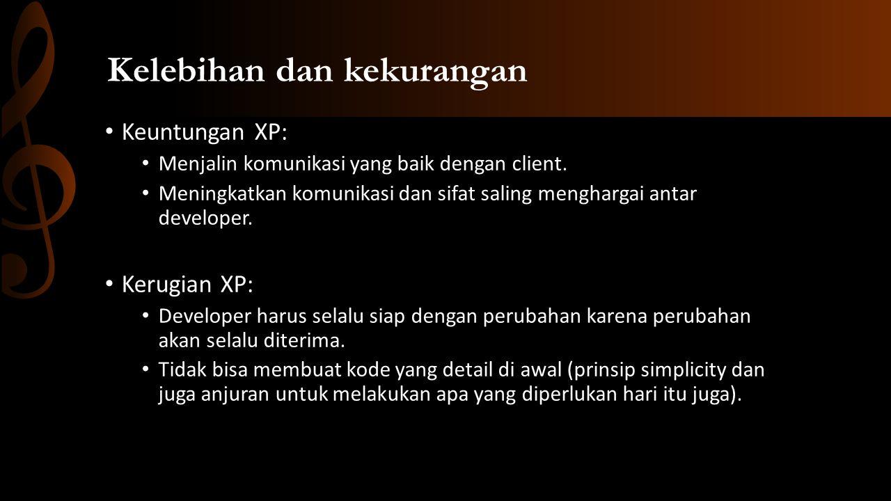 Kelebihan dan kekurangan • Keuntungan XP: • Menjalin komunikasi yang baik dengan client.