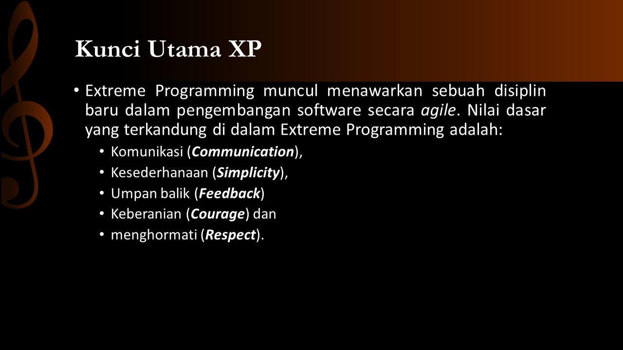 • Extreme Programming muncul menawarkan sebuah disiplin baru dalam pengembangan software secara agile.