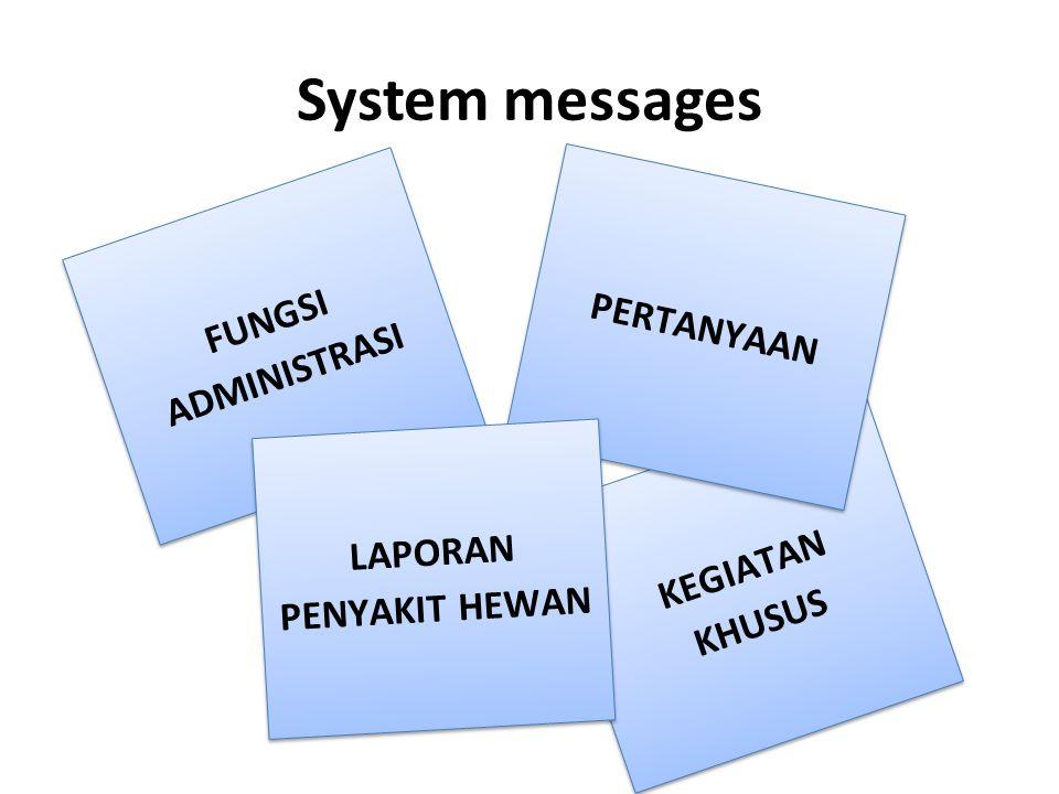 System messages FUNGSI ADMINISTRASI KEGIATAN KHUSUS PERTANYAAN LAPORAN PENYAKIT HEWAN
