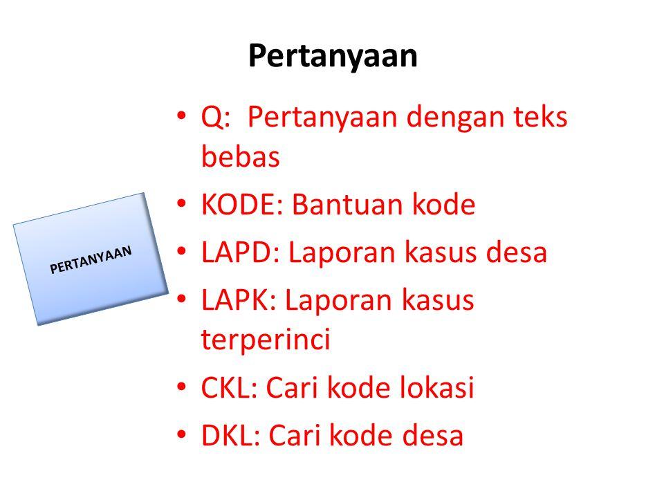 Pertanyaan • Q: Pertanyaan dengan teks bebas • KODE: Bantuan kode • LAPD: Laporan kasus desa • LAPK: Laporan kasus terperinci • CKL: Cari kode lokasi