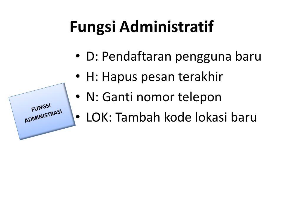 Fungsi Administratif • D: Pendaftaran pengguna baru • H: Hapus pesan terakhir • N: Ganti nomor telepon • LOK: Tambah kode lokasi baru FUNGSI ADMINISTR