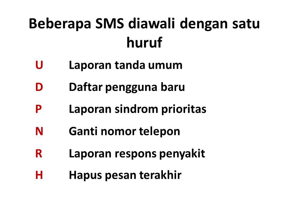 Beberapa SMS diawali dengan satu huruf ULaporan tanda umum DDaftar pengguna baru PLaporan sindrom prioritas NGanti nomor telepon RLaporan respons peny
