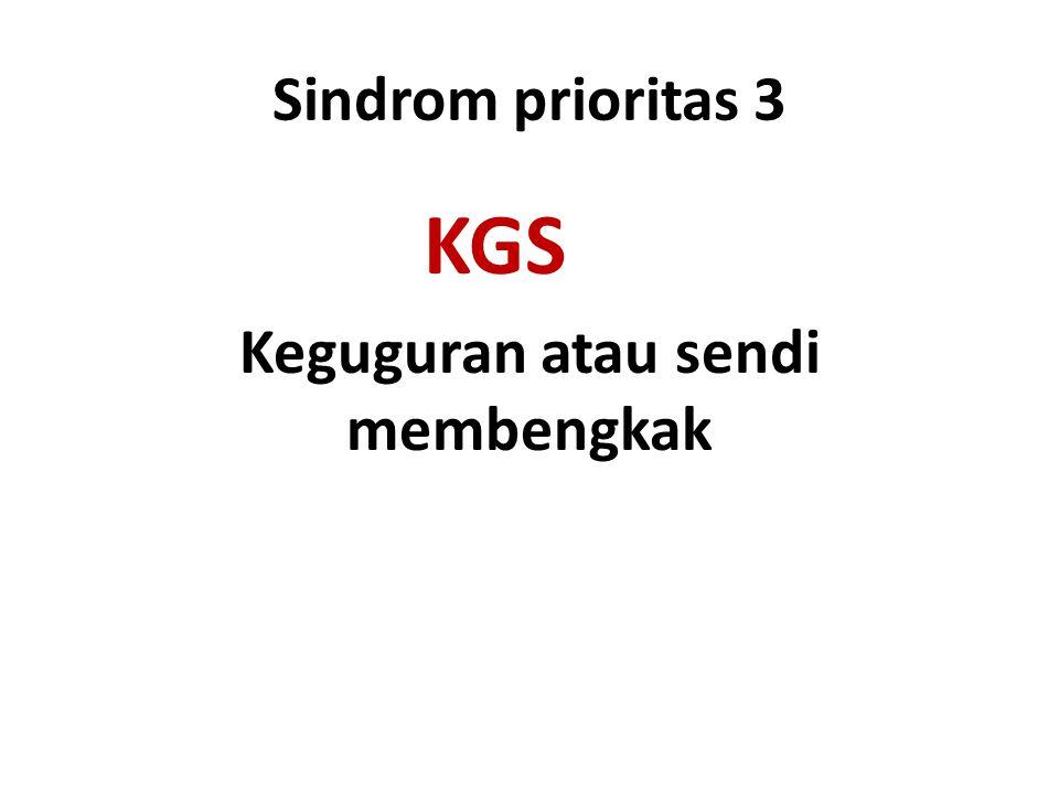 Sindrom prioritas 3 KGS Keguguran atau sendi membengkak