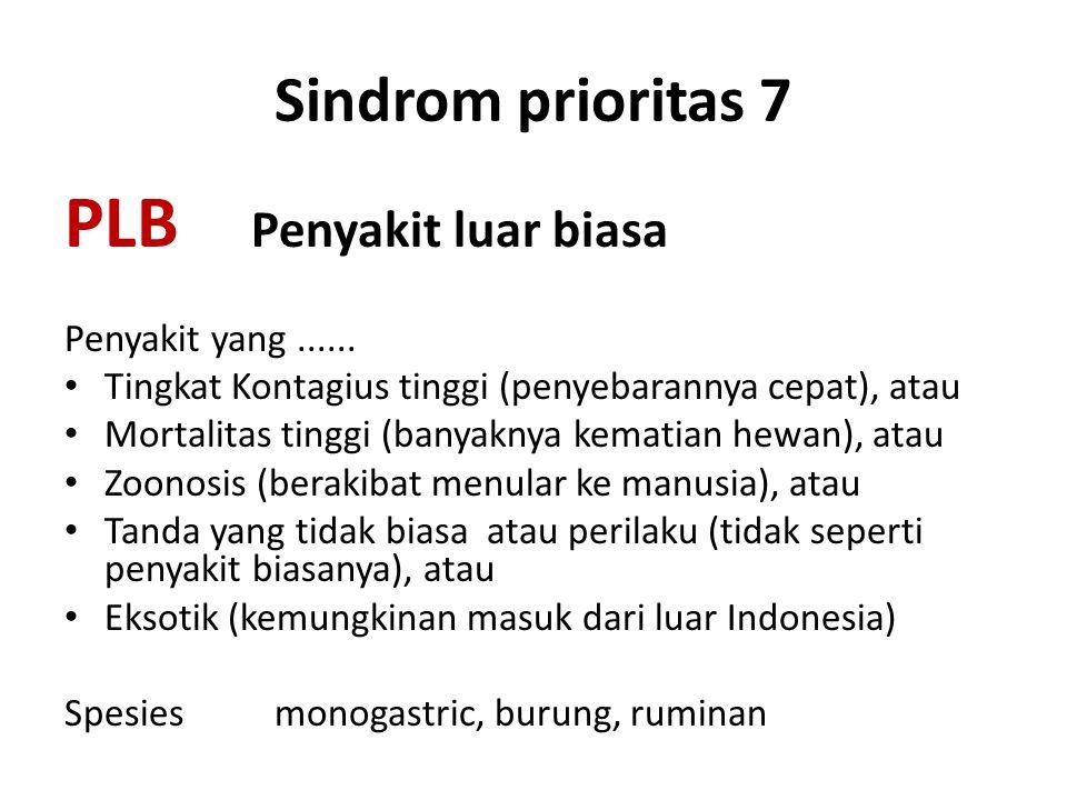 Sindrom prioritas 7 PLB Penyakit luar biasa Penyakit yang...... • Tingkat Kontagius tinggi (penyebarannya cepat), atau • Mortalitas tinggi (banyaknya