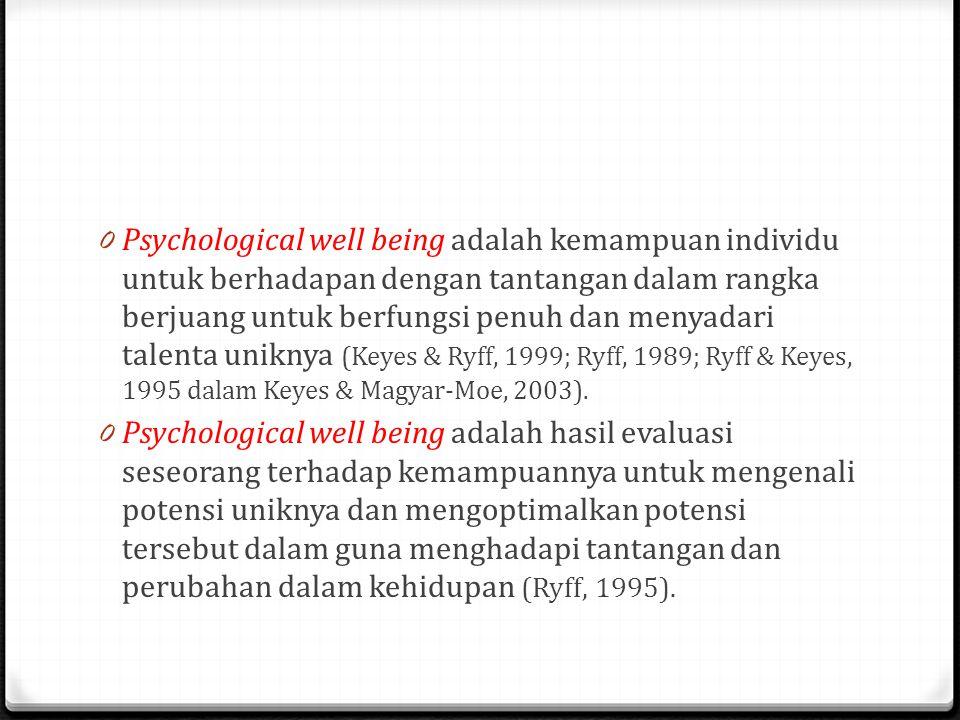 0 Psychological well being adalah kemampuan individu untuk berhadapan dengan tantangan dalam rangka berjuang untuk berfungsi penuh dan menyadari talenta uniknya (Keyes & Ryff, 1999; Ryff, 1989; Ryff & Keyes, 1995 dalam Keyes & Magyar-Moe, 2003).
