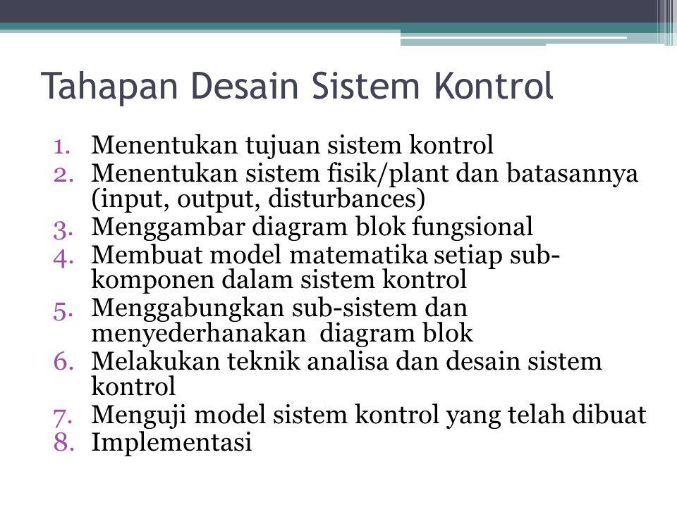 Tahapan Desain Sistem Kontrol 1.Menentukan tujuan sistem kontrol 2.Menentukan sistem fisik/plant dan batasannya (input, output, disturbances) 3.Menggambar diagram blok fungsional 4.Membuat model matematika setiap sub- komponen dalam sistem kontrol 5.Menggabungkan sub-sistem dan menyederhanakan diagram blok 6.Melakukan teknik analisa dan desain sistem kontrol 7.Menguji model sistem kontrol yang telah dibuat 8.Implementasi