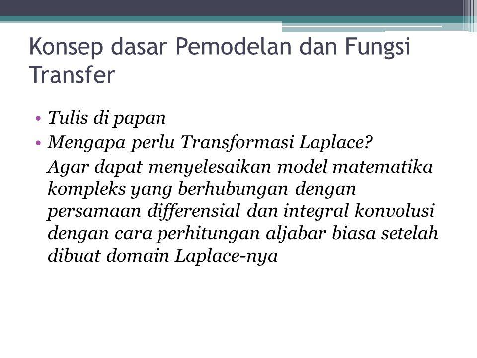 Konsep dasar Pemodelan dan Fungsi Transfer •Tulis di papan •Mengapa perlu Transformasi Laplace.