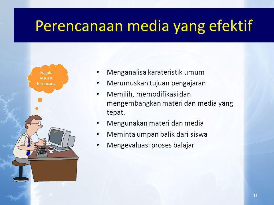 Pertimbangan PEMILIHAN MEDIA • TUJUAN PEMBELAJARAN • KEEFEKTIFAN • PESERTA DIDIK • KETERSEDIAAN • KUALITAS TEKNIS • BIAYA • FLEKSIBILITAS • KENYAMANAN / AMAN • KEMAMPUAN PENGGUNA 10