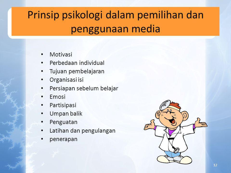 Perencanaan media yang efektif • Menganalisa karateristik umum • Merumuskan tujuan pengajaran • Memilih, memodifikasi dan mengembangkan materi dan med