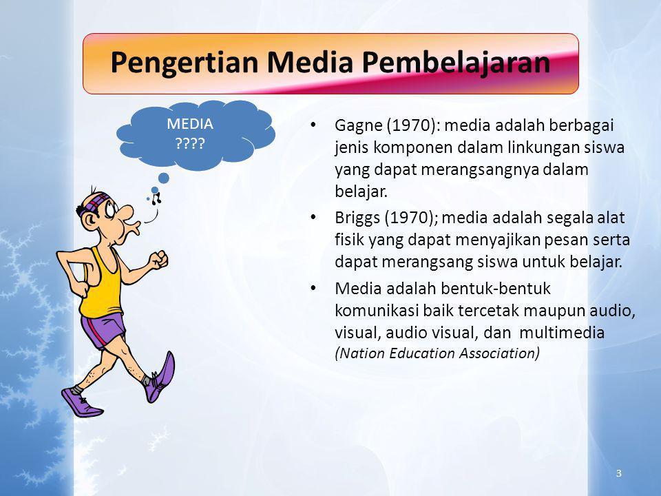 Pengertian Media Pembelajaran • Gagne (1970): media adalah berbagai jenis komponen dalam linkungan siswa yang dapat merangsangnya dalam belajar.