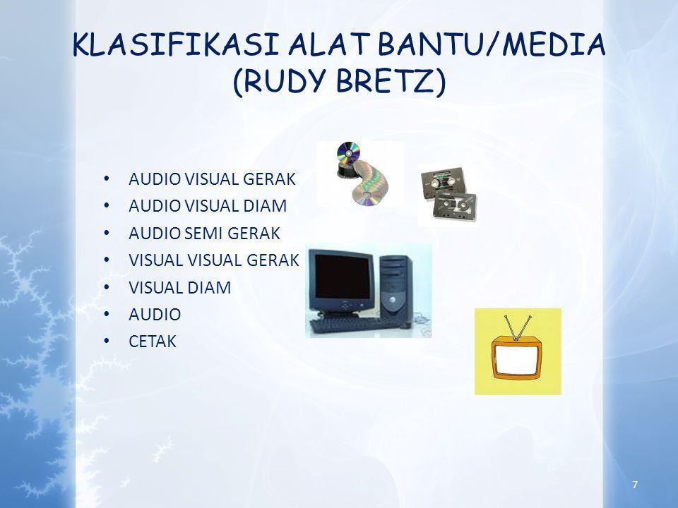 KLASIFIKASI ALAT BANTU/MEDIA (RUDY BRETZ) • AUDIO VISUAL GERAK • AUDIO VISUAL DIAM • AUDIO SEMI GERAK • VISUAL VISUAL GERAK • VISUAL DIAM • AUDIO • CETAK 7