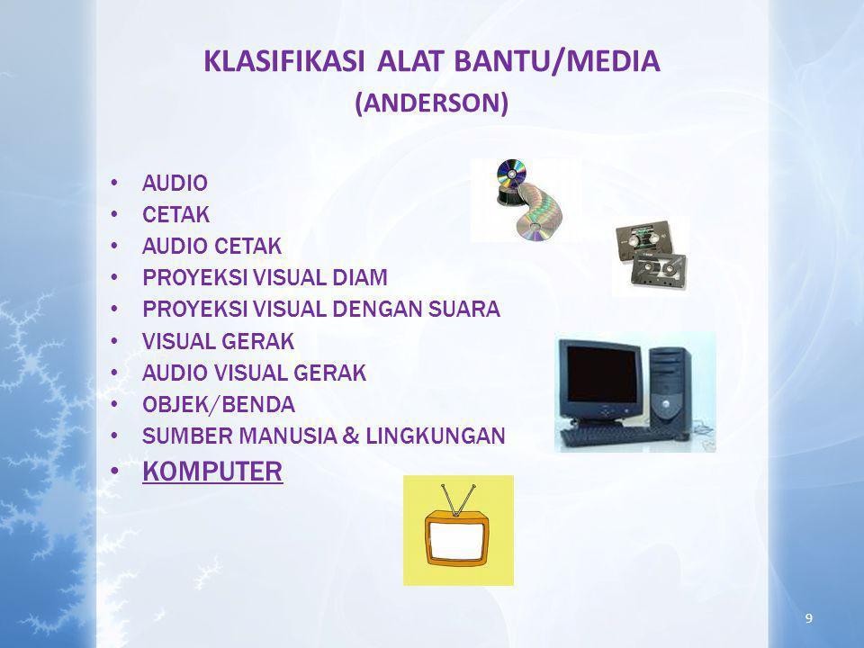 KLASIFIKASI ALAT BANTU/MEDIA (ANDERSON) • AUDIO • CETAK • AUDIO CETAK • PROYEKSI VISUAL DIAM • PROYEKSI VISUAL DENGAN SUARA • VISUAL GERAK • AUDIO VISUAL GERAK • OBJEK/BENDA • SUMBER MANUSIA & LINGKUNGAN • KOMPUTER 9