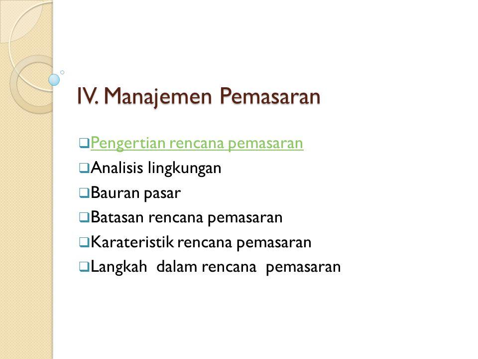 IV. Manajemen Pemasaran  Pengertian rencana pemasaran Pengertian rencana pemasaran  Analisis lingkungan  Bauran pasar  Batasan rencana pemasaran 