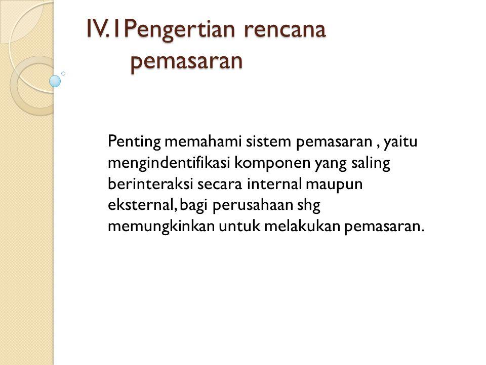 IV.1Pengertian rencana pemasaran Penting memahami sistem pemasaran, yaitu mengindentifikasi komponen yang saling berinteraksi secara internal maupun e