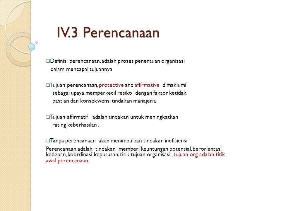 IV.3 Perencanaan  Definisi perencanaan, adalah proses penentuan organisasi dalam mencapai tujuannya  Tujuan perencanaan, protective and affirmative