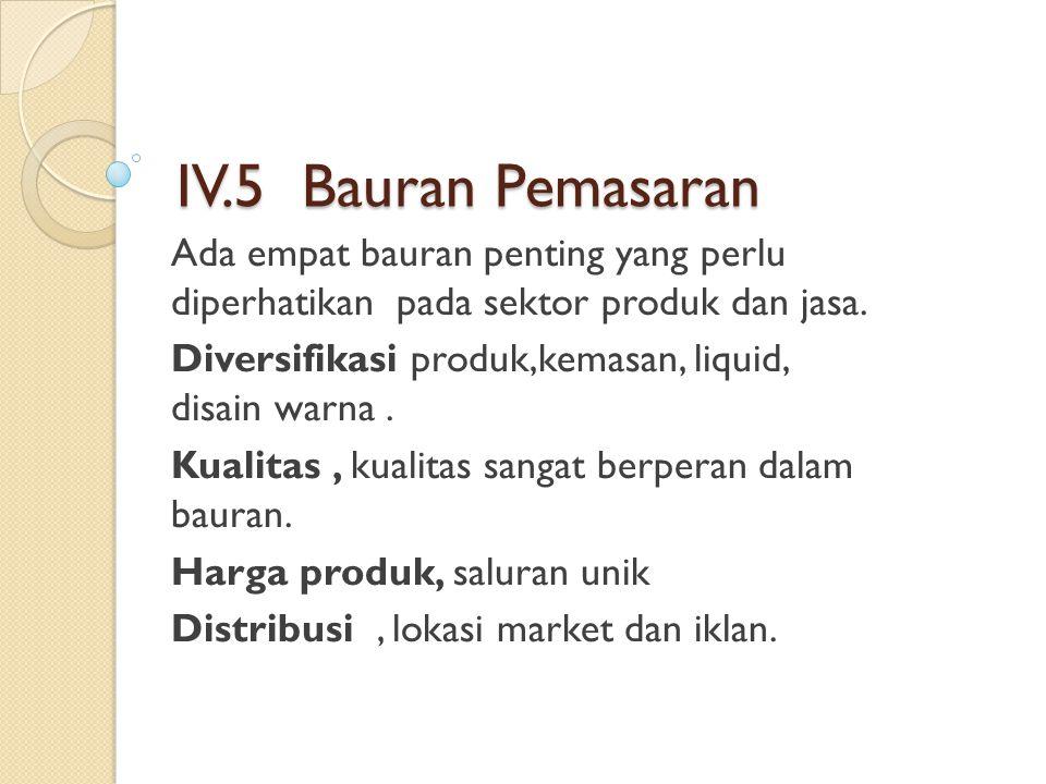 IV.5 Bauran Pemasaran Ada empat bauran penting yang perlu diperhatikan pada sektor produk dan jasa. Diversifikasi produk,kemasan, liquid, disain warna