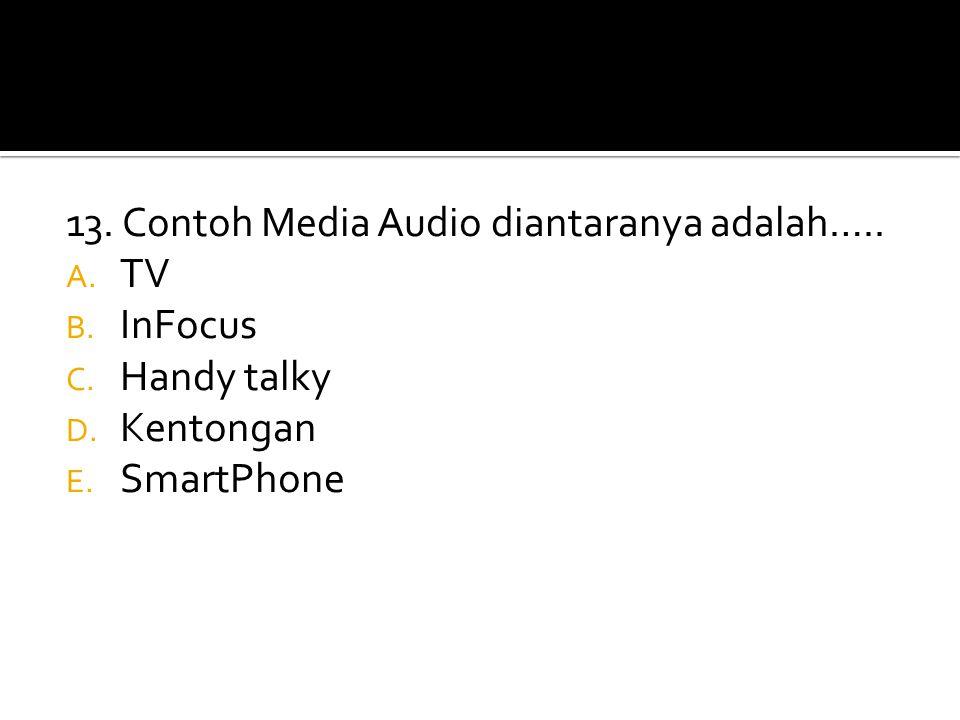 13. Contoh Media Audio diantaranya adalah….. A. TV B. InFocus C. Handy talky D. Kentongan E. SmartPhone