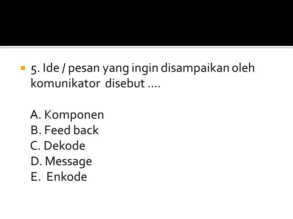 55. Ide / pesan yang ingin disampaikan oleh komunikator disebut.... A. Komponen B. Feed back C. Dekode D. Message E. Enkode