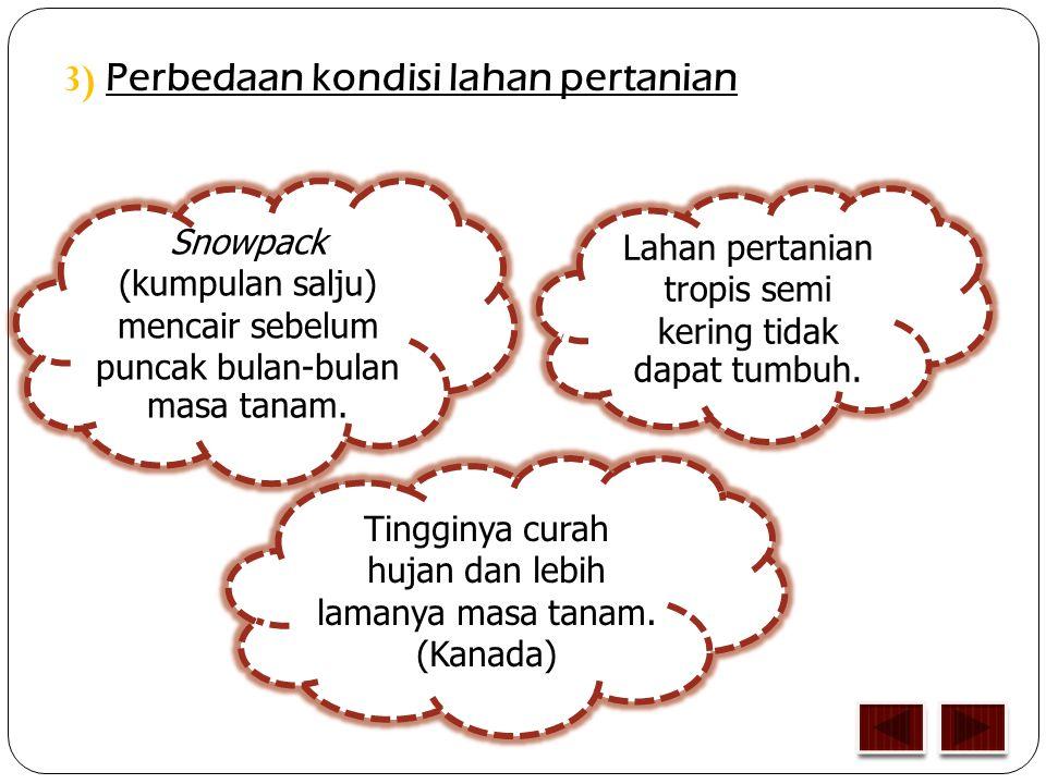 3) P erbedaan kondisi lahan pertanian Lahan pertanian tropis semi kering tidak dapat tumbuh.
