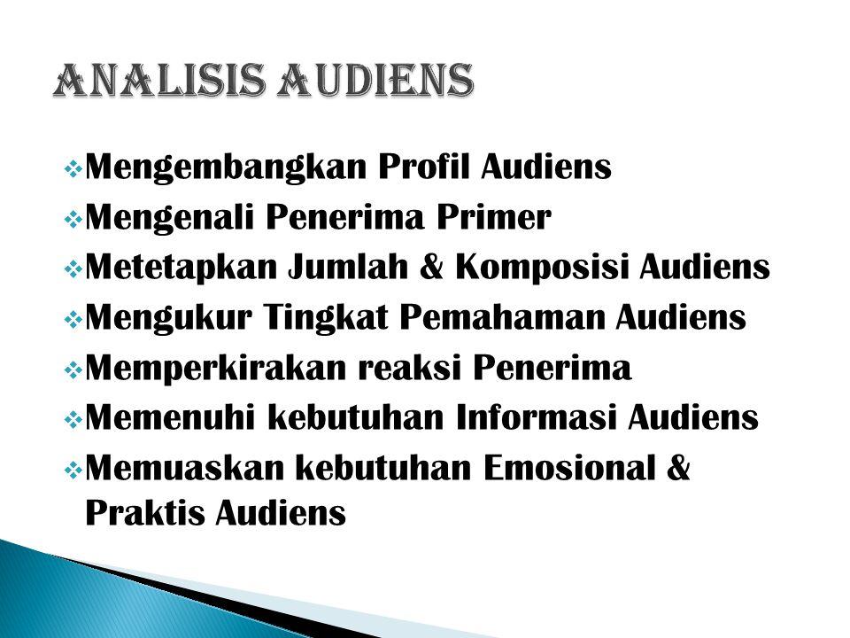  Mengembangkan Profil Audiens  Mengenali Penerima Primer  Metetapkan Jumlah & Komposisi Audiens  Mengukur Tingkat Pemahaman Audiens  Memperkiraka