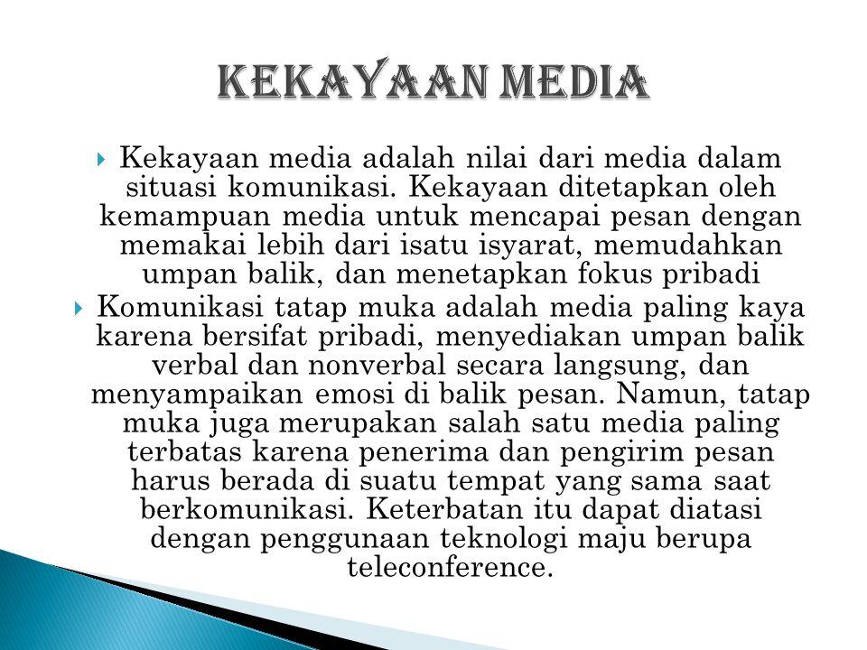  Kekayaan media adalah nilai dari media dalam situasi komunikasi. Kekayaan ditetapkan oleh kemampuan media untuk mencapai pesan dengan memakai lebih
