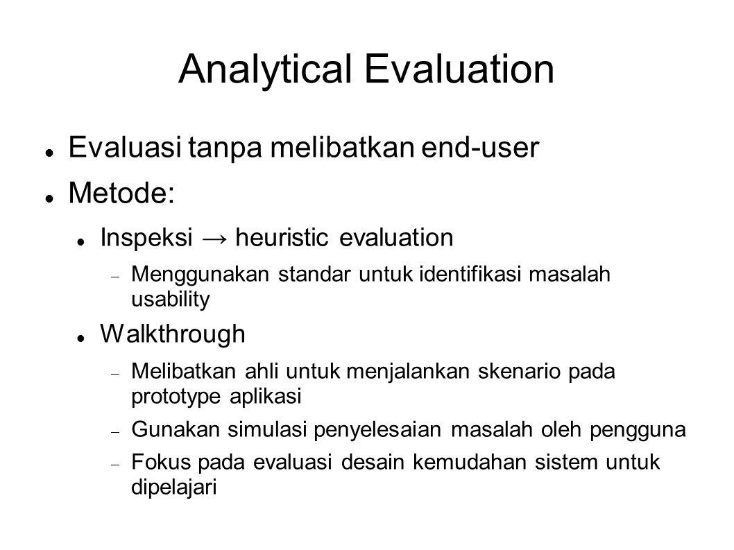 Analytical Evaluation  Evaluasi tanpa melibatkan end-user  Metode:  Inspeksi → heuristic evaluation  Menggunakan standar untuk identifikasi masala