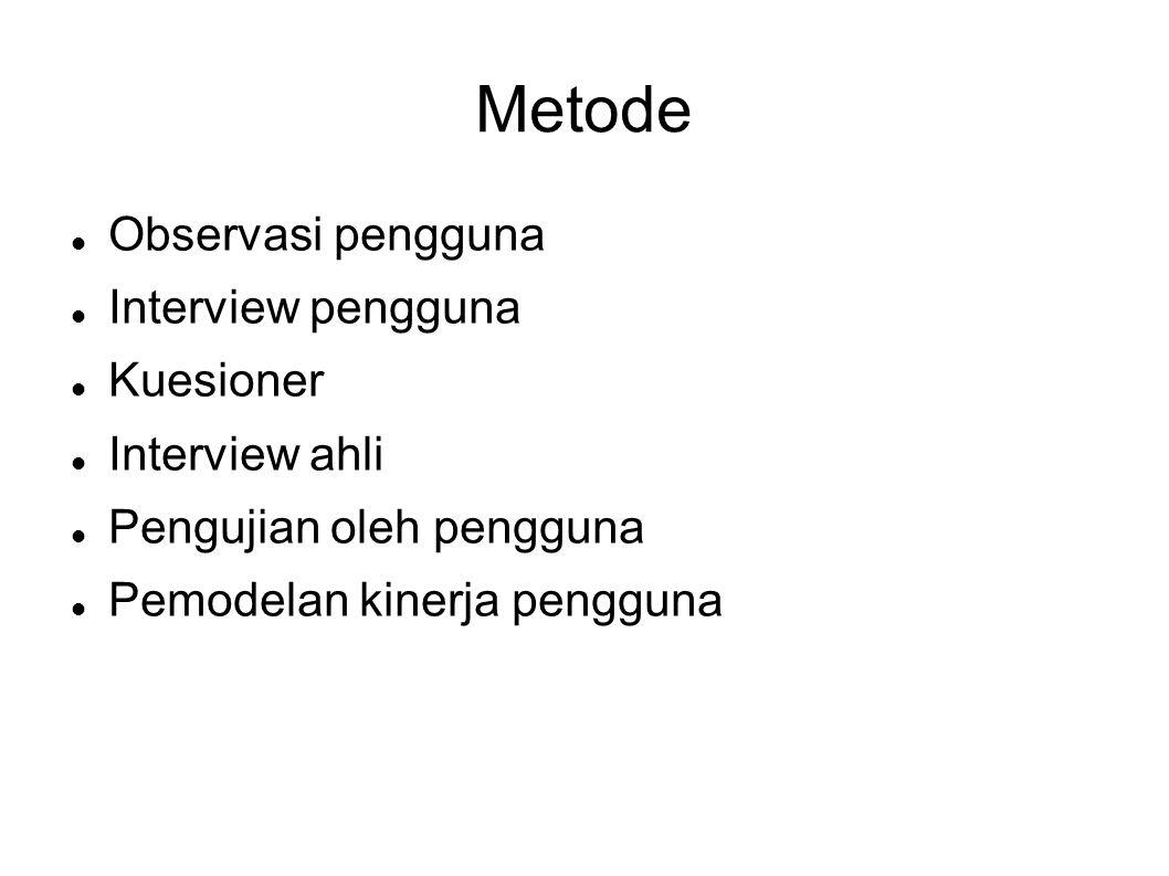 Metode  Observasi pengguna  Interview pengguna  Kuesioner  Interview ahli  Pengujian oleh pengguna  Pemodelan kinerja pengguna