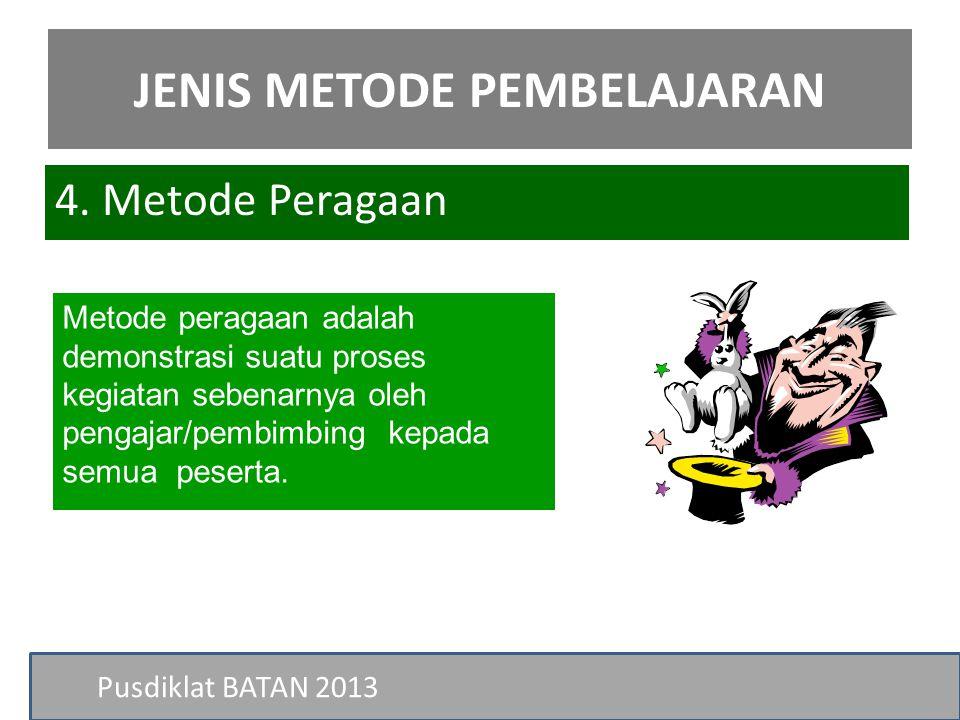 Pusdiklat BATAN 2013 Metode peragaan adalah demonstrasi suatu proses kegiatan sebenarnya oleh pengajar/pembimbing kepada semua peserta. 4. Metode Pera