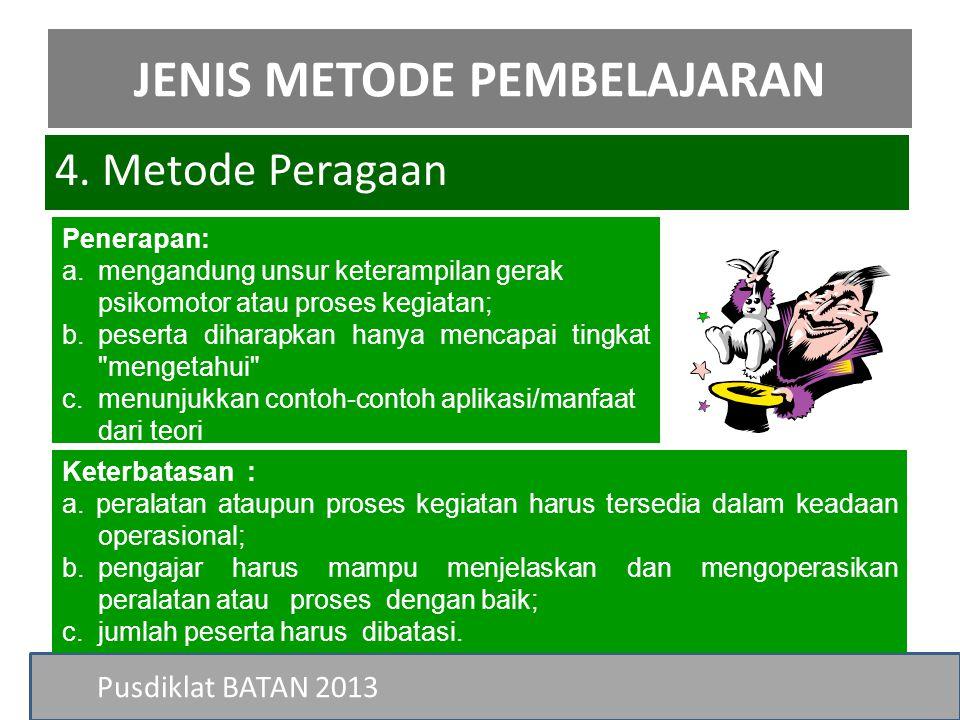 Pusdiklat BATAN 2013 4. Metode Peragaan JENIS METODE PEMBELAJARAN Penerapan: a.mengandung unsur keterampilan gerak psikomotor atau proses kegiatan; b.