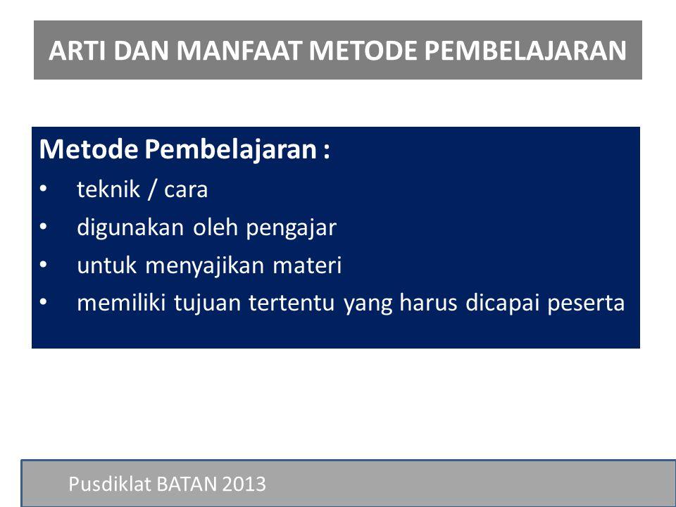 Pusdiklat BATAN 10.Metode Sumbang Saran JENIS METODE PEMBELAJARAN Penerapan: a.