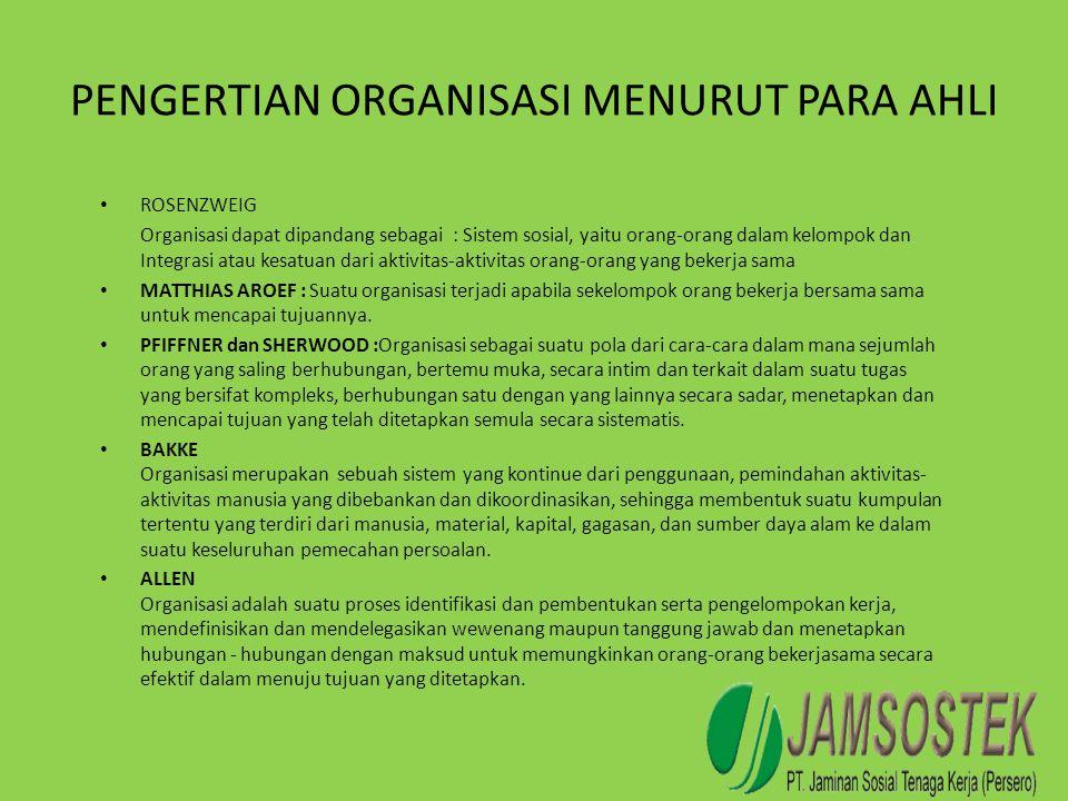 PENGERTIAN ORGANISASI MENURUT PARA AHLI • ROSENZWEIG Organisasi dapat dipandang sebagai : Sistem sosial, yaitu orang-orang dalam kelompok dan Integras
