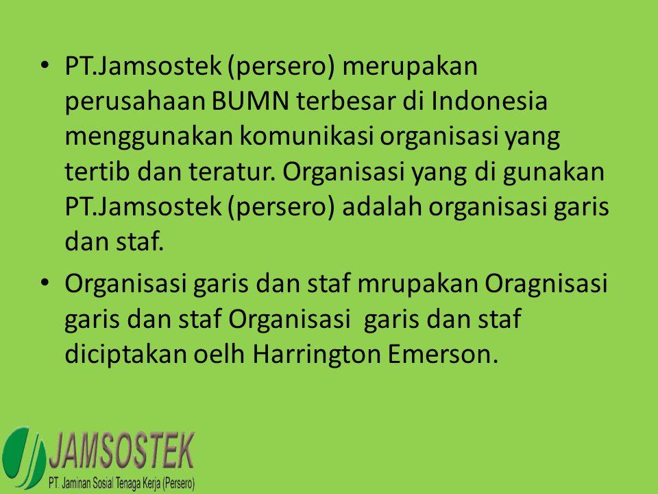 • PT.Jamsostek (persero) merupakan perusahaan BUMN terbesar di Indonesia menggunakan komunikasi organisasi yang tertib dan teratur. Organisasi yang di