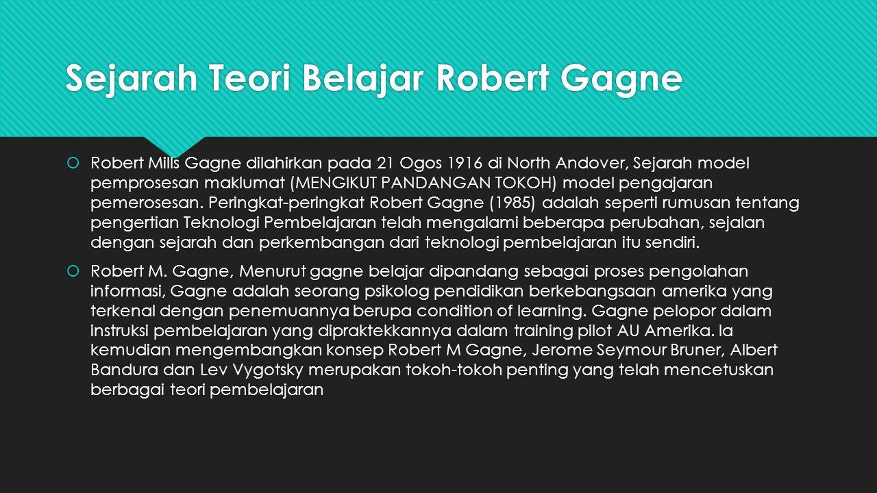Sejarah Teori Belajar Robert Gagne  Robert Mills Gagne dilahirkan pada 21 Ogos 1916 di North Andover, Sejarah model pemprosesan maklumat (MENGIKUT PA