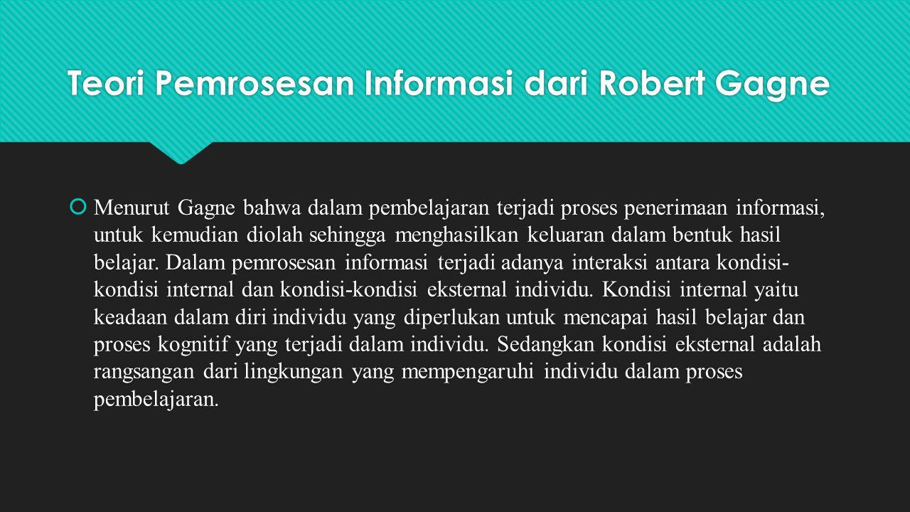 Teori Pemrosesan Informasi dari Robert Gagne  Menurut Gagne bahwa dalam pembelajaran terjadi proses penerimaan informasi, untuk kemudian diolah sehin