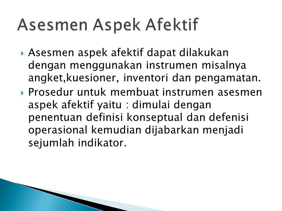  Asesmen aspek afektif dapat dilakukan dengan menggunakan instrumen misalnya angket,kuesioner, inventori dan pengamatan.  Prosedur untuk membuat ins