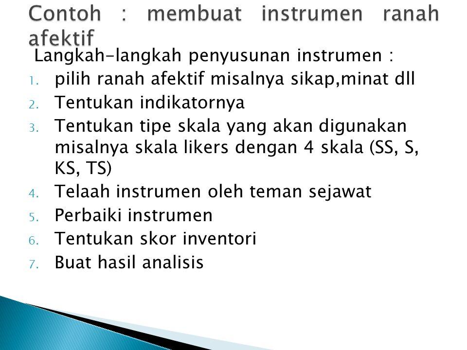 Langkah-langkah penyusunan instrumen : 1. pilih ranah afektif misalnya sikap,minat dll 2. Tentukan indikatornya 3. Tentukan tipe skala yang akan digun