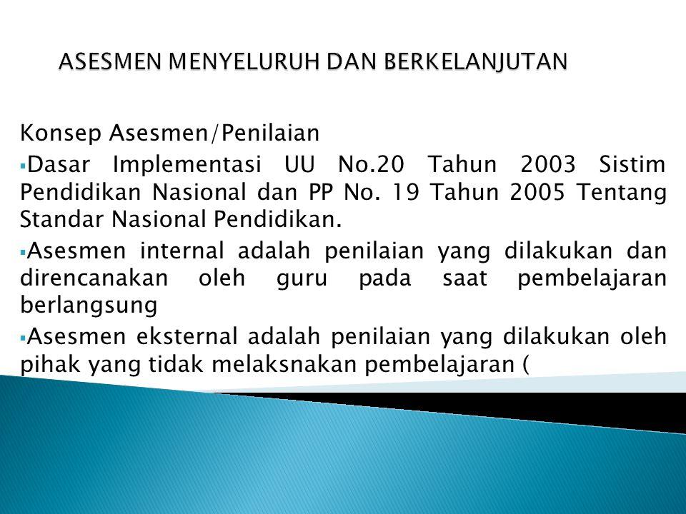 Konsep Asesmen/Penilaian  Dasar Implementasi UU No.20 Tahun 2003 Sistim Pendidikan Nasional dan PP No. 19 Tahun 2005 Tentang Standar Nasional Pendidi