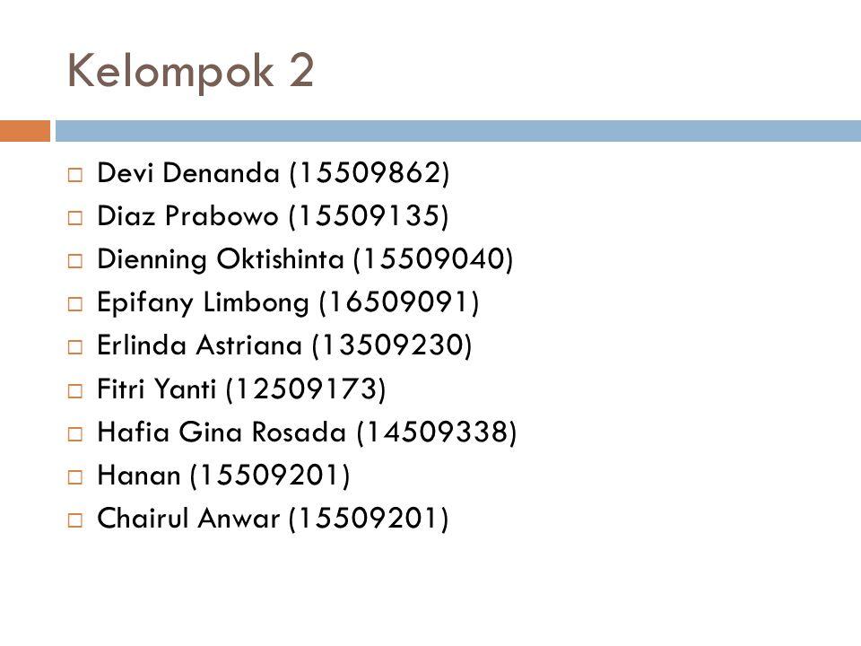Kelompok 2  Devi Denanda (15509862)  Diaz Prabowo (15509135)  Dienning Oktishinta (15509040)  Epifany Limbong (16509091)  Erlinda Astriana (13509230)  Fitri Yanti (12509173)  Hafia Gina Rosada (14509338)  Hanan (15509201)  Chairul Anwar (15509201)