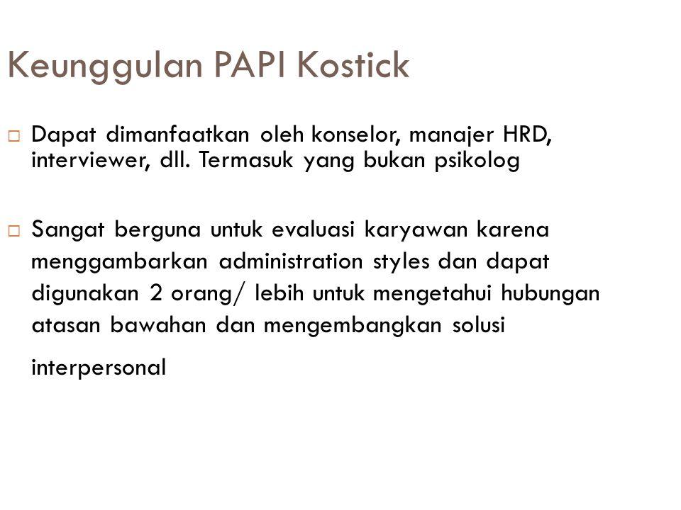 Keunggulan PAPI Kostick  Dapat dimanfaatkan oleh konselor, manajer HRD, interviewer, dll.