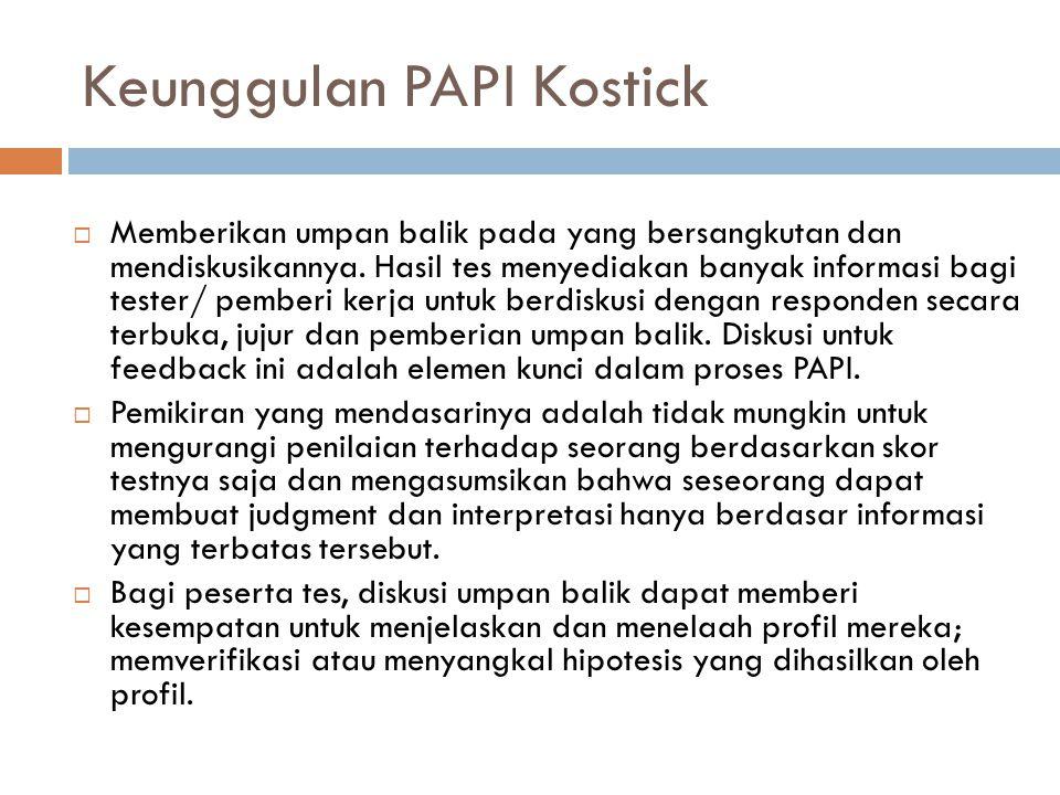 Keunggulan PAPI Kostick  Memberikan umpan balik pada yang bersangkutan dan mendiskusikannya.