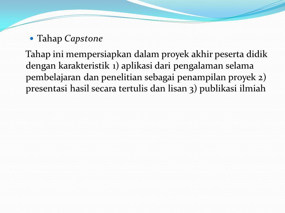  Tahap Capstone Tahap ini mempersiapkan dalam proyek akhir peserta didik dengan karakteristik 1) aplikasi dari pengalaman selama pembelajaran dan pen