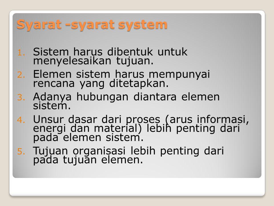 Syarat -syarat system 1.Sistem harus dibentuk untuk menyelesaikan tujuan.