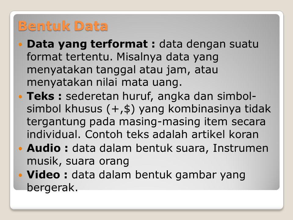 Bentuk Data  Data yang terformat : data dengan suatu format tertentu.