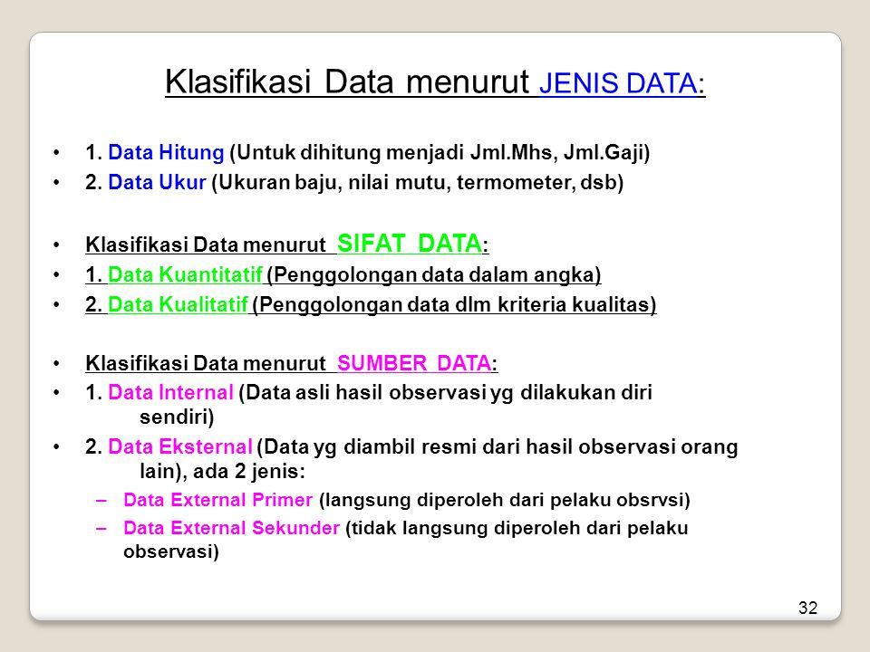 32 Klasifikasi Data menurut JENIS DATA: •1.
