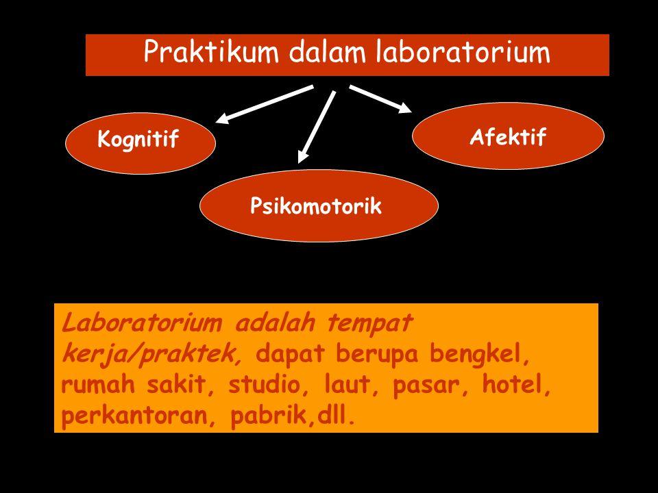 Praktikum dalam laboratorium Kognitif Psikomotorik Afektif Laboratorium adalah tempat kerja/praktek, dapat berupa bengkel, rumah sakit, studio, laut, pasar, hotel, perkantoran, pabrik,dll.